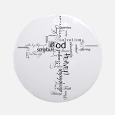 Christian cross word collage Round Ornament