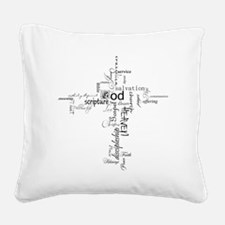 Christian cross word collage Square Canvas Pillow