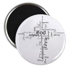 Christian cross word collage Magnet
