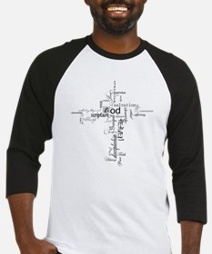 Christian cross word collage Baseball Jersey