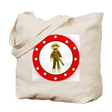 Sock Monkey Polka Dots Tote Bag