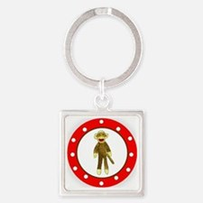 Sock Monkey Polka Dots Square Keychain