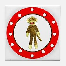 Sock Monkey Polka Dots Tile Coaster