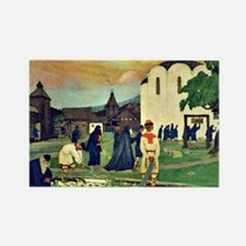 Boris Kustodiev - In the Monaster Rectangle Magnet