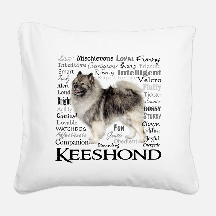 Keeshond Traits Square Canvas Pillow