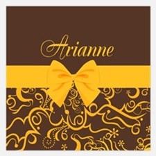 Elegant Yellow and Brown Swirls 5.25 x 5.25 Flat C