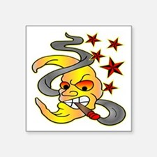 "Cigar Smoking Moon Square Sticker 3"" x 3"""