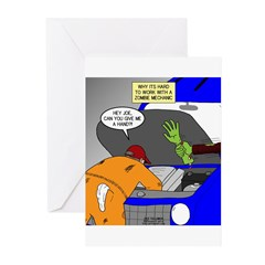 Zombie Mechanic Jokes Greeting Cards (Pk of 10)