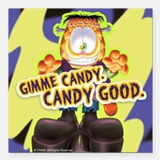 "Garfield Gimme Candy Square Car Magnet 3"" x 3"""