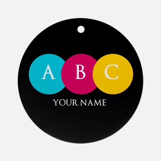 Bright Pop Circles Initials Ornament (Round)