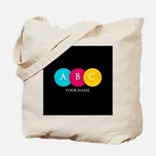 Bright Pop Circles Initials Tote Bag