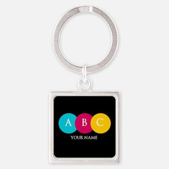 Bright Pop Circles Initials Square Keychain