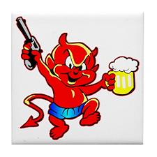 Beer Drinking Pistol Devil Tile Coaster