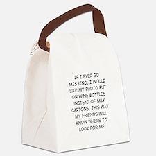Wine Bottle Missing Canvas Lunch Bag