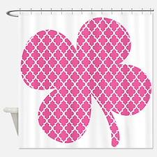 Pink Quatrefoil Shamrock Shower Curtain