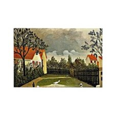 Henri Rousseau - The Poultry Yard Rectangle Magnet