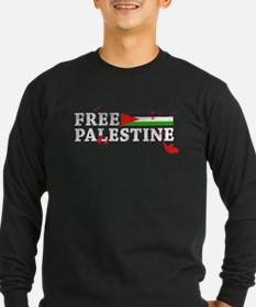 free palestine with flag and blood Long Sleeve T-S