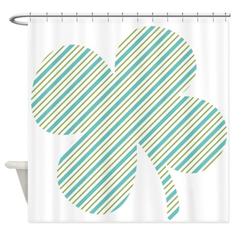 Green And Blue Stripes Shamrock Shower Curtain By Patricksday