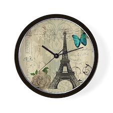 floral paris eiffel tower butterfly Wall Clock