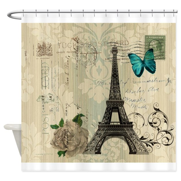 floral paris eiffel tower butterfly shower curtain by