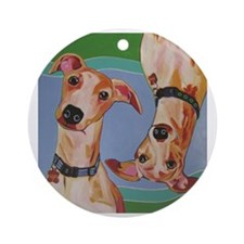 Wuz Up Whippets Round Ornament