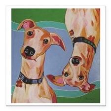 """Wuz Up Whippets Square Car Magnet 3"""" x 3"""""""