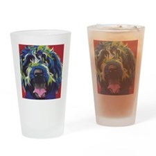 Red Blue & Lime Wire Hair Griffon  Drinking Glass