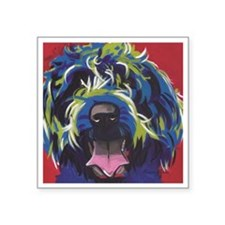 """Red Blue & Lime Wire Hair G Square Sticker 3"""" x 3"""""""