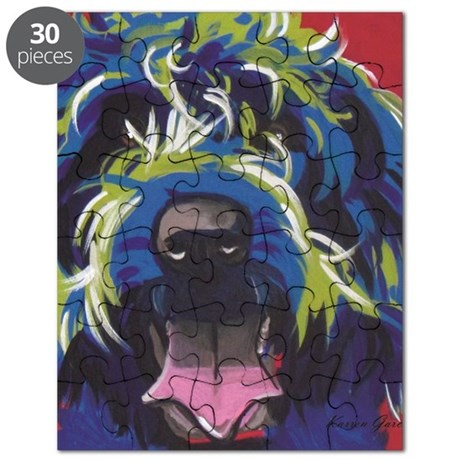 Red Blue & Lime Wire Hair Griffon Puzzle