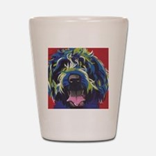 Red Blue & Lime Wire Hair Griffon  Shot Glass
