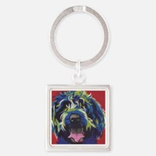 Red Blue & Lime Wire Hair Griffon  Square Keychain