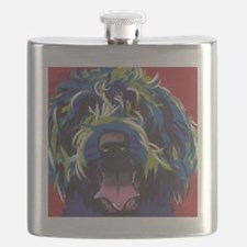 Red Blue & Lime Wire Hair Griffon  Flask