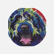 """Red Blue & Lime Wire Hair Griffon  3.5"""" Button"""
