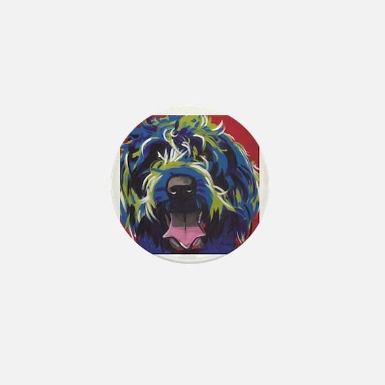 Red Blue & Lime Wire Hair Griffon  Mini Button