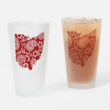 Red Paisley Ohio Drinking Glass