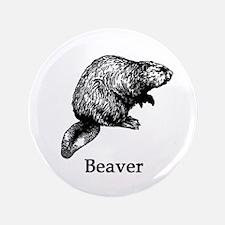 """Beaver (line art) 3.5"""" Button"""