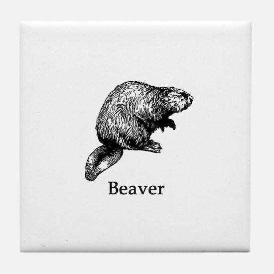 Beaver (line art) Tile Coaster