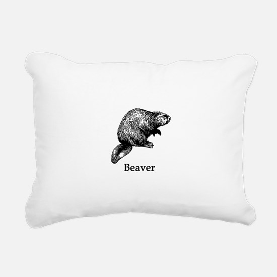 Beaver (line art) Rectangular Canvas Pillow
