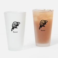 Beaver (line art) Drinking Glass