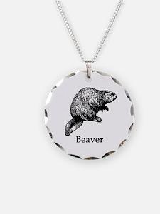 Beaver (line art) Necklace