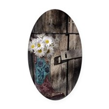 country cowboy boots Oval Car Magnet