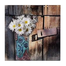 daisy country cowboy boots Tile Coaster