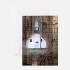 rustic church grunge country Greeting Card