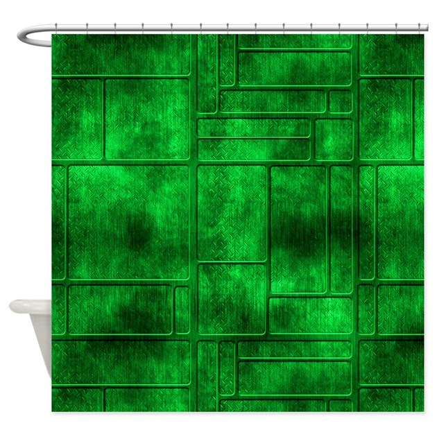 Industrial Green Metal Shower Curtain By Graphicallusions