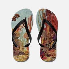Vintage Tropical Fish and Coral Flip Flops