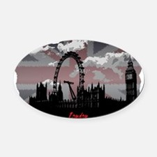 Black London Oval Car Magnet