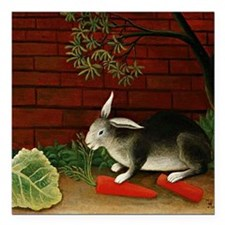 "Henri Rousseau: Rabbit Square Car Magnet 3"" x 3"""