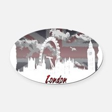 White London Oval Car Magnet
