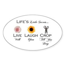 Live. Laugh. Crop. Oval Decal