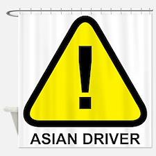 Asian Driver Alert Shower Curtain